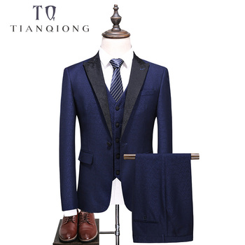 TIAN QIONG Brand Men Blue Suit 2018 Slim Fit Groom Wedding Suits for Men Stylish Shawl Collar Formal Business Dress Suits QT522 tian qiong mens black wool suits latest coat pant designs chinese style stand collar slim fit groom wedding suit formal wear