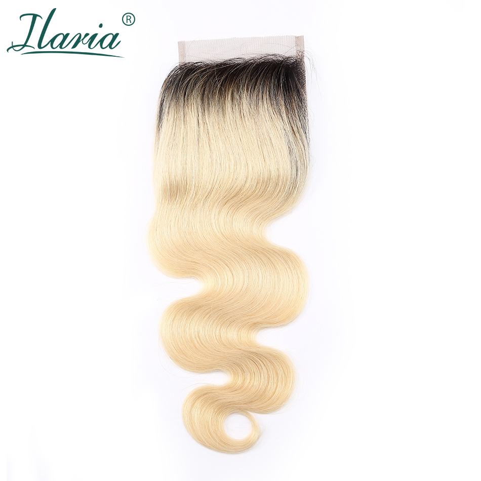 ILARIA HAIR 1B 613 Blonde Human Hair Lace Closure 4x4 With Baby Hair Body Wave 2 Tone Dark Root Ombre Closure Bleached Knots