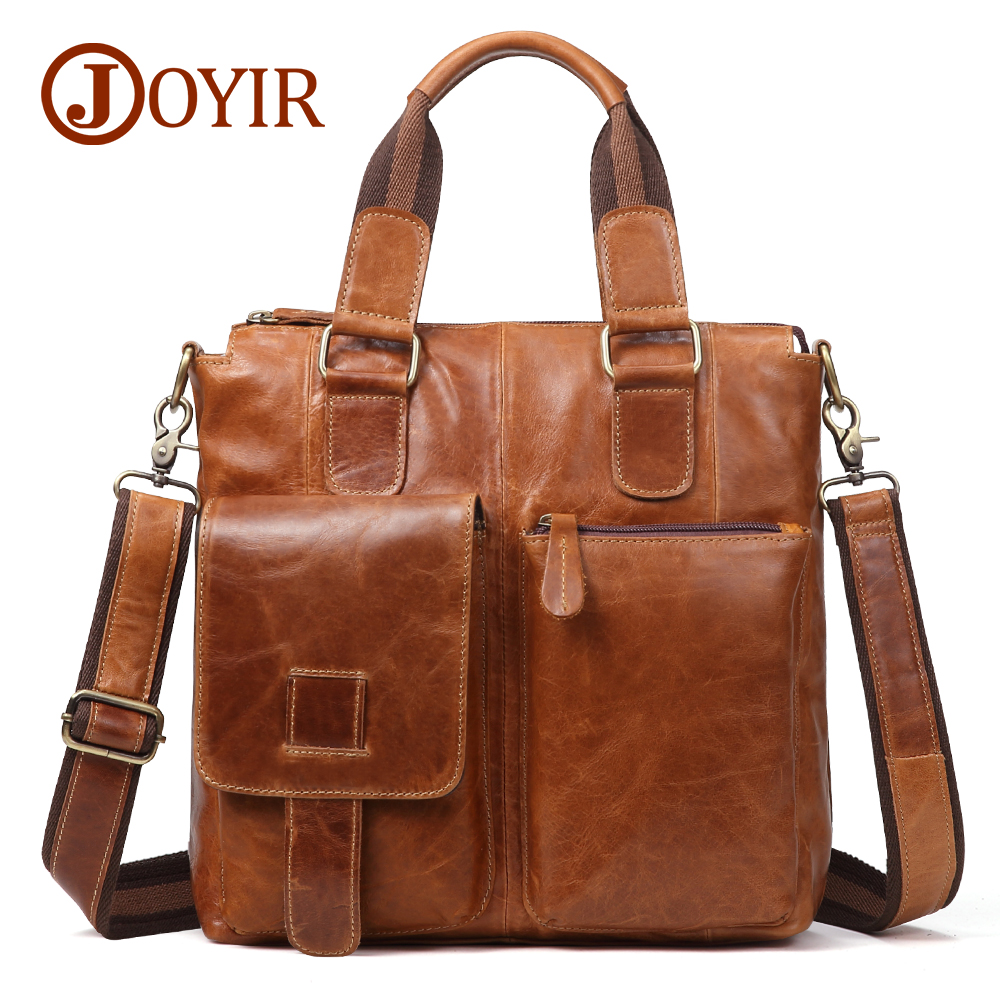 JOYIR Men Genuine Leather Handbags For Crazy Horse Small Briefcase Casual Cow Male Crossbody Shoulder Bags