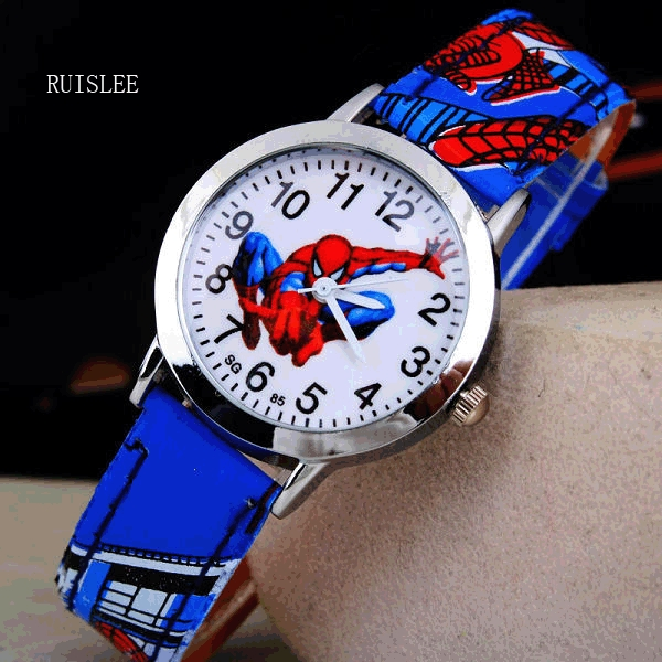 2016 Spider Cartoon Watch Enfants Enfants Montre-Bracelet Garçons Horloge Enfant Cadeau En Cuir Montre-Bracelet À Quartz Cartoon-montre À Quartz-montre