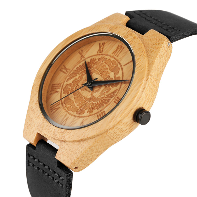 Bamboo Wooden Watch for Men Unique Tree Dial Design Luxury Creative Quartz Genuine Leather Band Wrist Watches Gifts 2017 men s gift enmex unique design leather creative dial changing patterns simple fashion for young peoples quartz watches