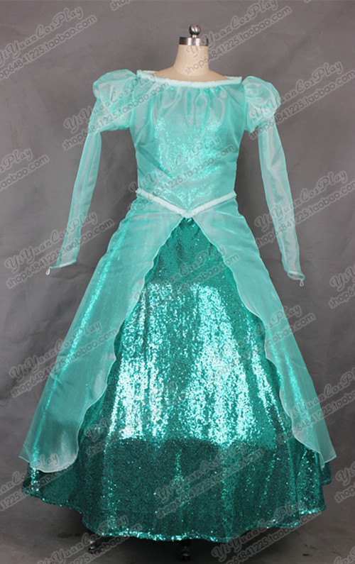 2016 The Little Mermaid Princess Ariel Cosplay Dress Girls Green Gorgeous Fancy Dress Halloween Costumes for Women Custom princess ariel dress halloween costumes fancy the little mermaid ariel cosplay costume mermaid costume green party dress