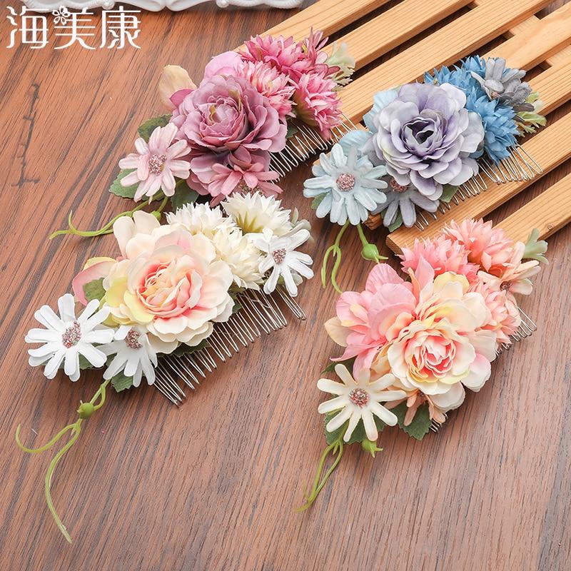 Haimeikang  New Woodland Flower Hair Comb Bridal Headwear Handmade Wedding Jewelry Hair Accessories Combs Women Headpiece