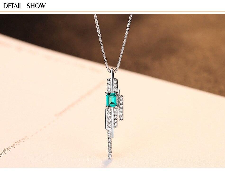 Luxury emerald jewelry emerald S925 sterling silver pendant necklace ladies GB14Luxury emerald jewelry emerald S925 sterling silver pendant necklace ladies GB14