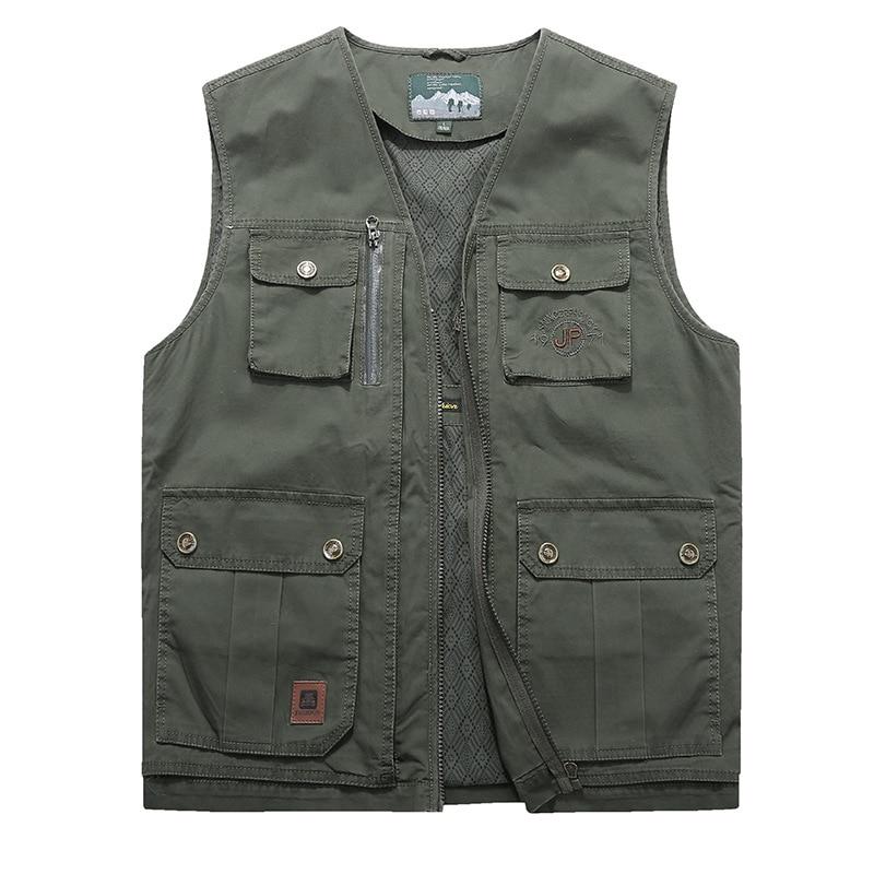 Men vest plus size 9XL 8XL 7XL Brand Clothing Autumn Mens Vests Sleeveless Jacket Multi Pocket Cargo Vest Male Waistcoat Coat