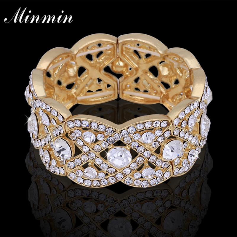 Minmin Gold-color Big Bangles with Crystal Floral Bracelets for Women Wedding Accessory African Beads Jewelry SL053