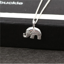 925 Sterling Silver Small Elephant Korean Simple Temperament Jewelry Female Wild Accessories Pendant Necklace    H182
