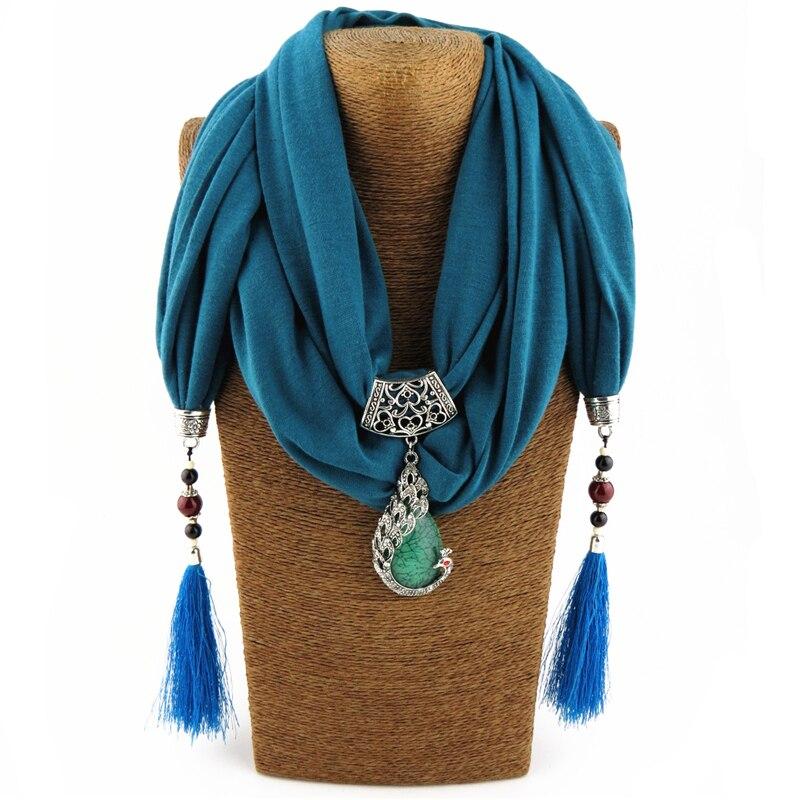 Best Sale Peacock Korean Velvet Bohemia Scraf Necklaces Pendants Shawl Long Tassel Hollow Out Engraved Women bijoux Femme Hot