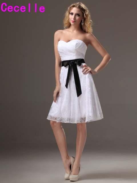ea92cbbfd3 Short Black White Lace Bridesmaid Dresses Sweetheart Pleats Vintage A-line  Informal Wedding Party Dress