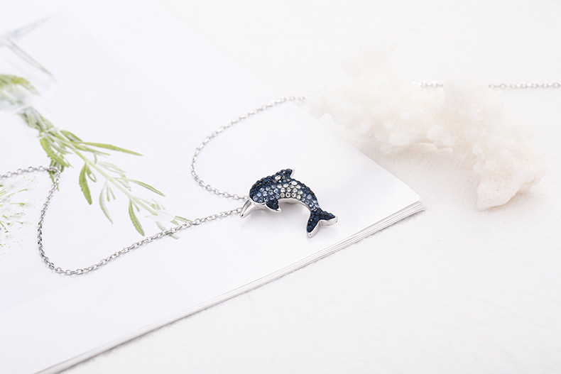 dolphin silver necklace for women 9