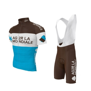 2019 pro team AG2R cycling jersey sets Short sleeve bike cloth MTB Ropa Ciclismo Bicycle maillot jersey and bib shorts GEL pad AG2R La Mondiale 2019