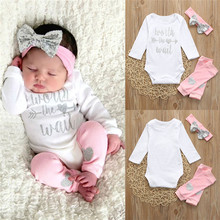 Cute Baby Girls Letter Romper Jumpsuit Leggings Headband 3Pcs Outfits Set