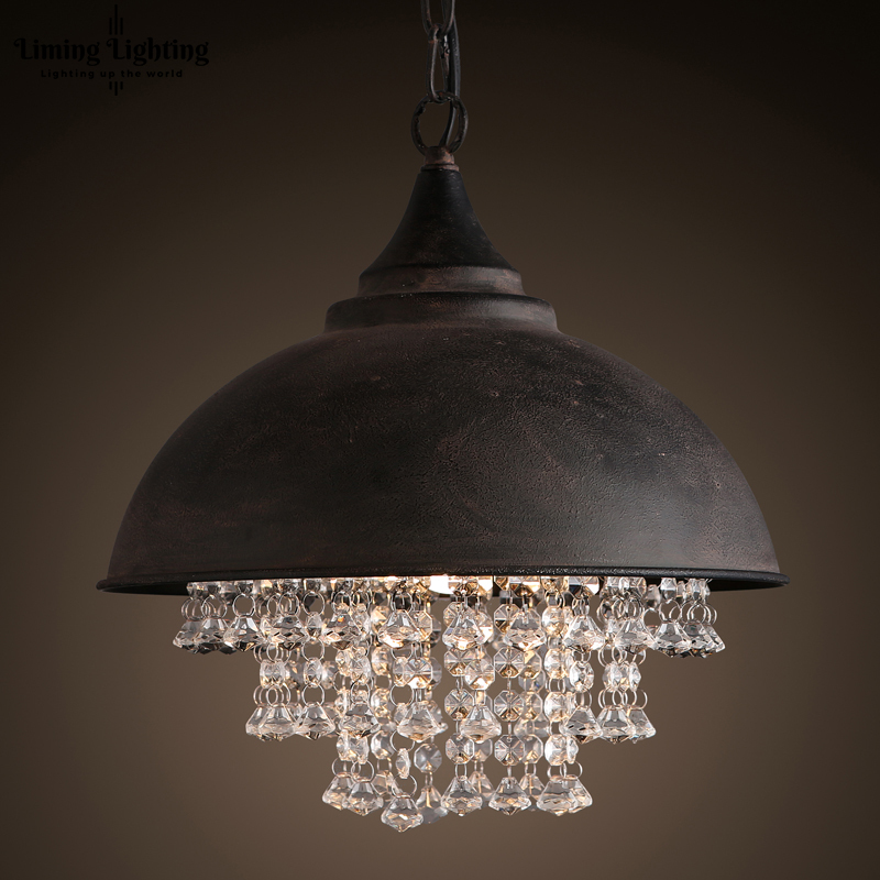 American Country Modern Style Retro Industrial Pot Cover Luxury Crystal Pendant Lights Living Room Hotel Clubs