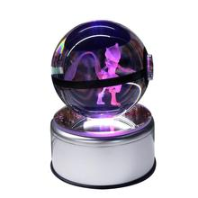 Mew 3D Pokemon Crystal Ball Fancy LED Lighting and Spinning Primary Base Advance 3D Laser Engraving Valentine Childrens Gift