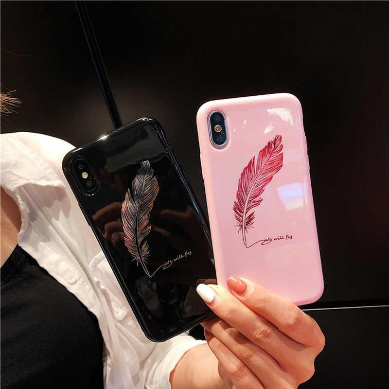 Lüks pürüzsüz tüy ayna pembe yumuşak iphone için kılıf X 8 7 6 6S artı telefon kapak için Huawei P20 pro onur 9/10 lite geri Funda