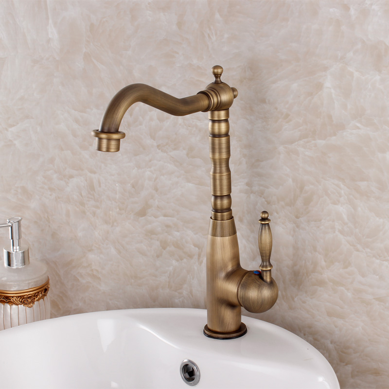 Vintage Brass Faucet Antique Waterfall Brass Faucet Wash Basin Counter Basin Hot And Cold Faucet Vegetables Basin Sink Faucet