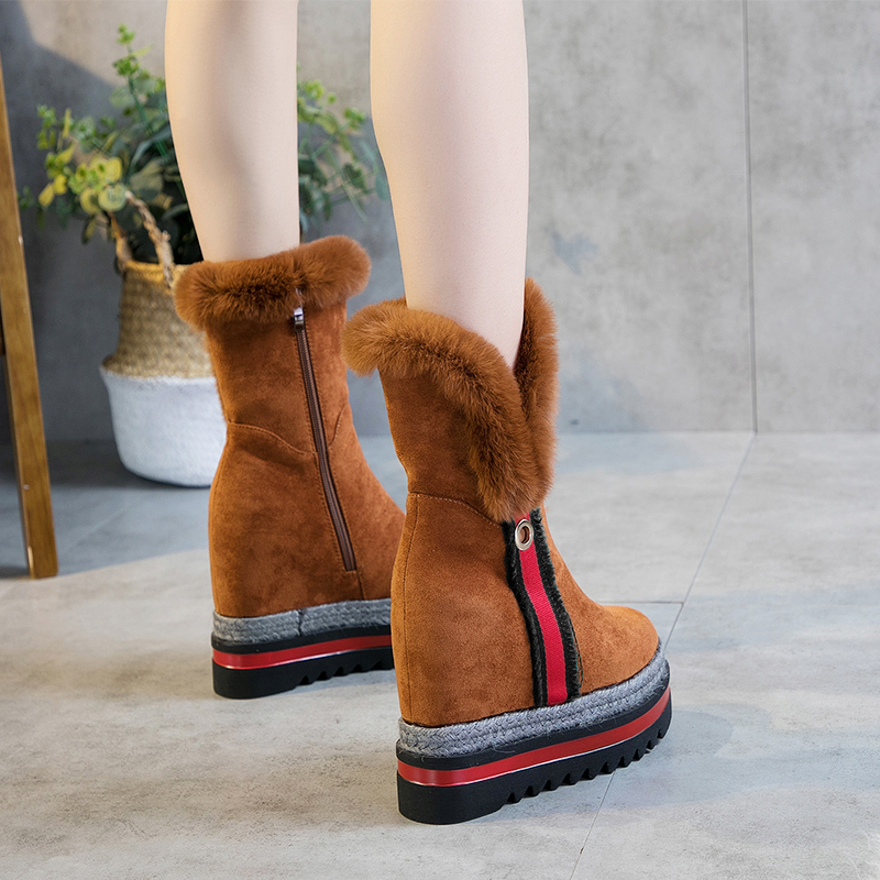 SWYIVY Rabbit Fur Snow Boots Shoes Woman Platform High Top Female Winter Warm Casual Shoes 9 Cm Wedge Suede Leather Snow Boots