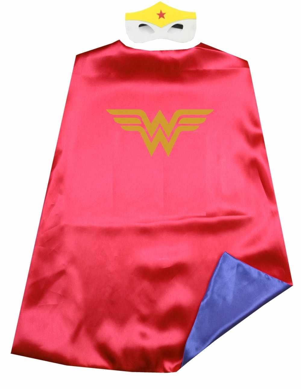Satin 2layer Super Rod Justice League Superhero Kids Cape Mask Halloween Costume Birthday Party Favors