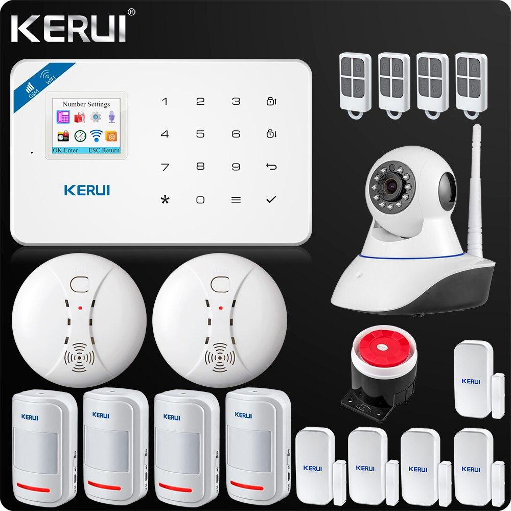 Kerui W18 Wireless Wifi GSM IOS Android APP Control LCD GSM SMS Home Burglar Alarm System PIR Smoke Sensor Indoor Wifi Camera