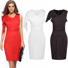Women Summer Sexy Ruffle V-Neck Sleeveless Cocktail Bodycon Sheath Pencil Dress