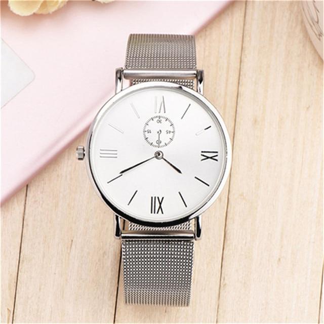 Women Men Luxury Stainless Steel Watches Crystal Analog Quartz Bracelet Wrist Wa