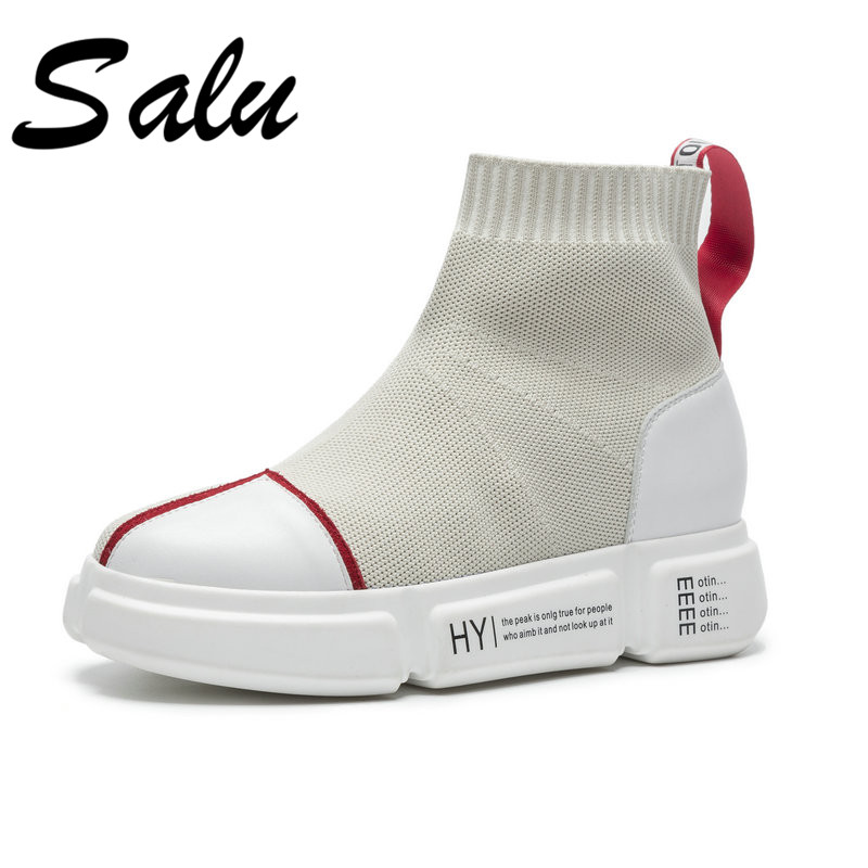 Salu 2018 new fashion Genuine leather ankle boots women round toe autumn boots flock platform boots flat heels shoes big size 9 big size 34 42 high quality genuine leather leisure low heels ankle boots fashion cowhide round toe platform women boots