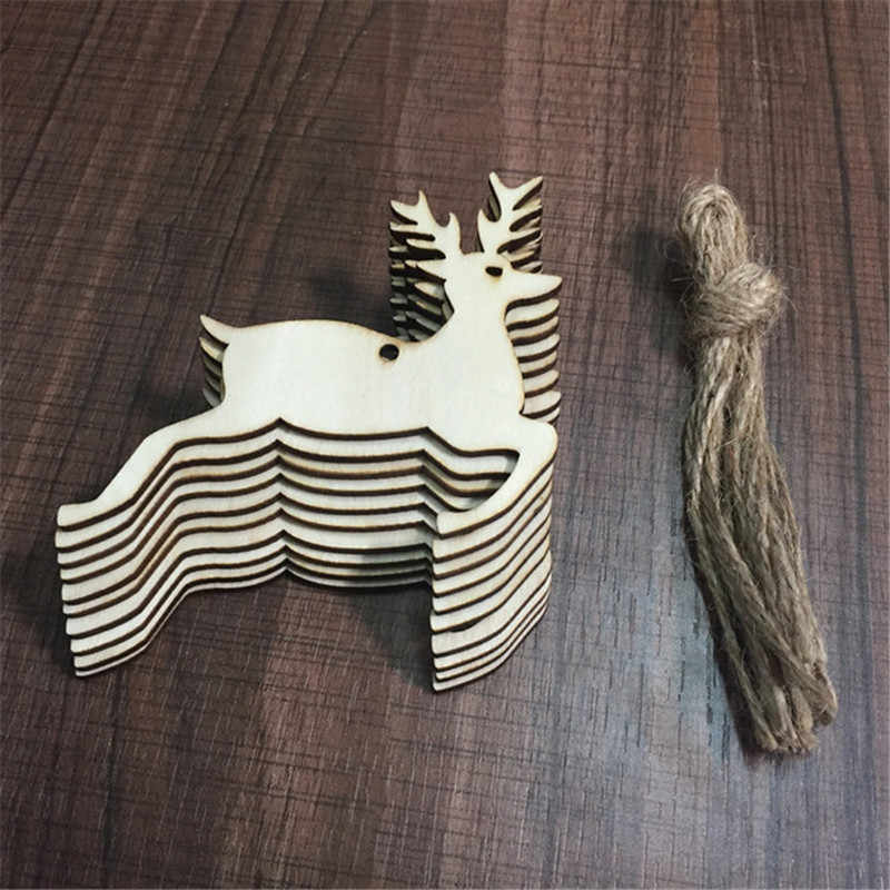 10PCS DIY Christmas Deer Head Reindeer Xmas Tree Hanging Wooden Pendants Ornaments Party Decorations for Home Navidad Kids Gifts