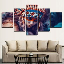 Canvas Art 5 Pieces Indian Girl Oil Paintings Prints on Hot Sale Wall Picture for Home Living Room Fashion Decorative