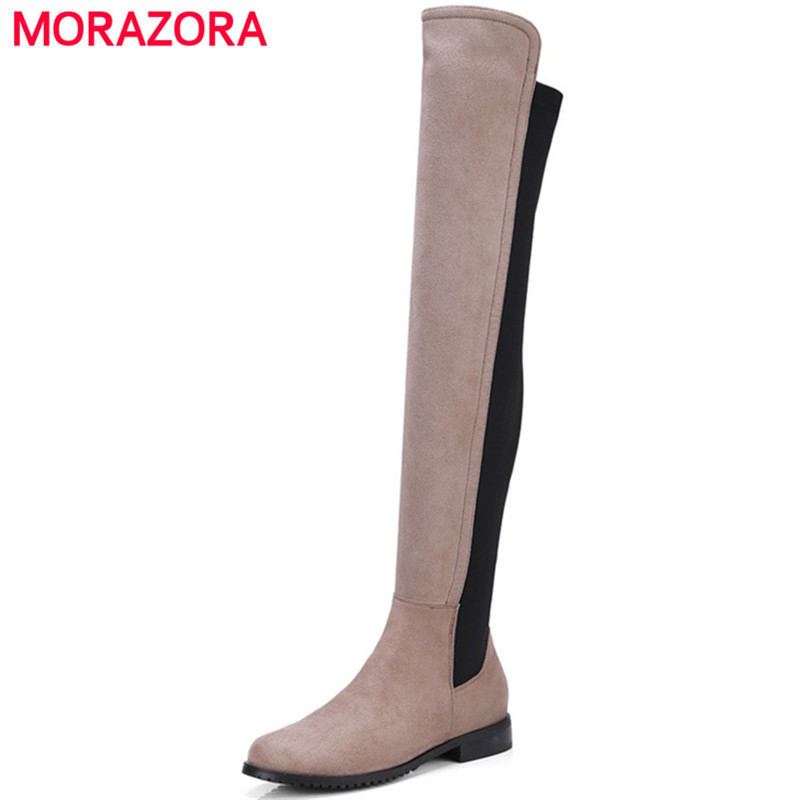 MORAZORA Low heels shoes woman over the knee boots for women mixed colors flock round toe stretch boots large size 34-43 enmayla ankle boots for women low heels autumn and winter boots shoes woman large size 34 43 round toe motorcycle boots