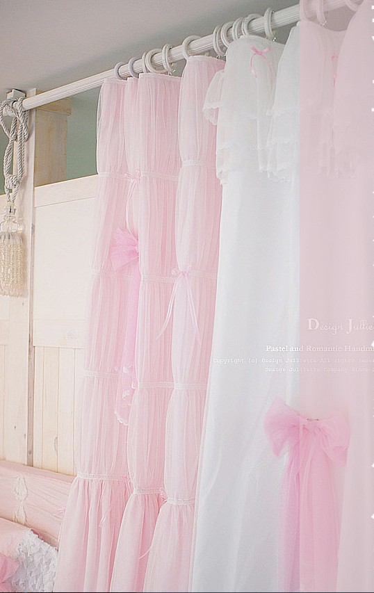 Quality Pink White Princess Lace Curtain For Living Room Window Curtains Wedding Decoration Sweet Bow Volie Cortinas Customized In From Home