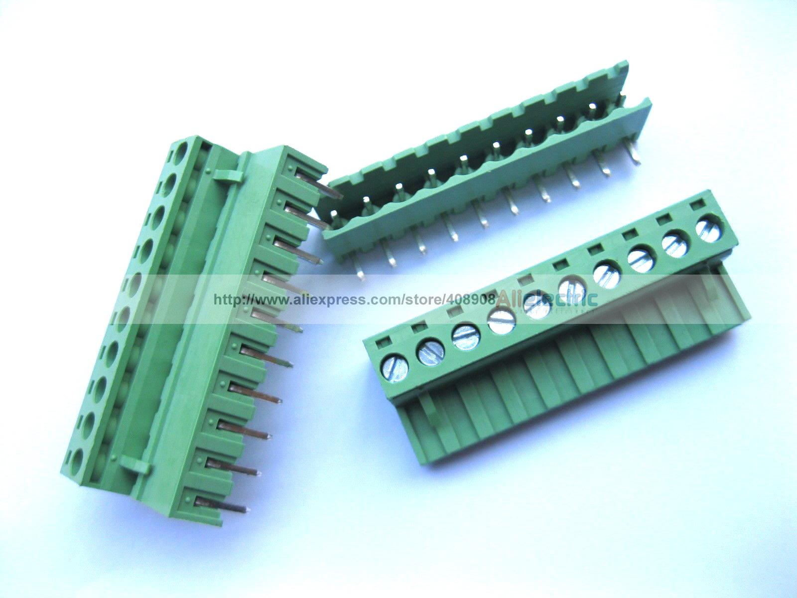 цена на 40 Pcs 5.08mm Angle 10 Pin Screw Terminal Block Connector Pluggable Type Green