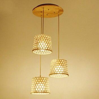 Hiện đại nghệ thuật tre dệt tay đèn chùm nhà hàng phòng trà lối đi đèn chùm cổ thị trấn trang trại trang trí đèn ZP4231353