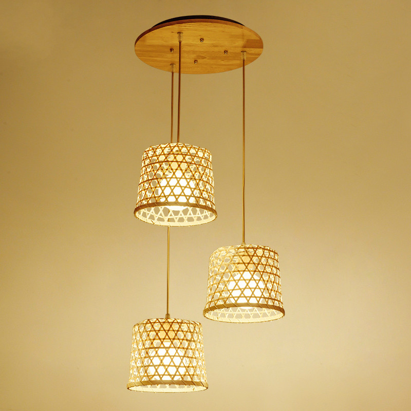 Modern bamboo art hand-woven chandelier teahouse restaurant aisle chandelier ancient town farm decoration lamps ZP4231353