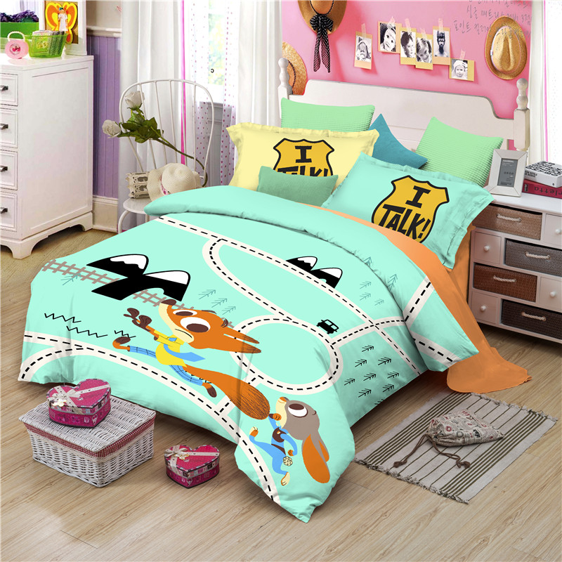 Disney Cotton Zootopia Cartoon Bedding Set Duvet Cover Bed