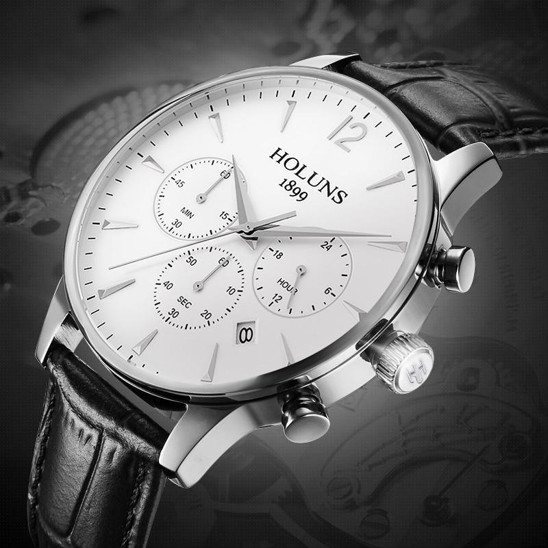 2019 Holuns クロノグラフメンズ腕時計ファッションブランドの高級カジュアルアナログビジネスドレス革防水クォーツ時計男性  グループ上の 腕時計 からの クォーツ時計 の中 1