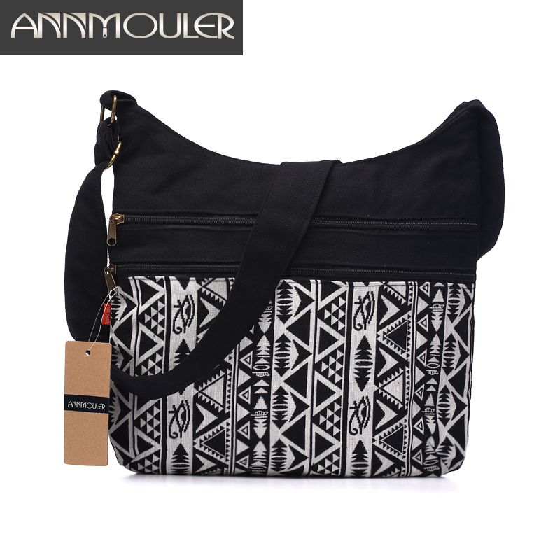 Annmouler Wanita Cotton Fabric Shoulder Bag Gypsy Bohemian Bag Budak Chic Hippie Aztec Folk Tribal Woven Crossbody Messenger Bag