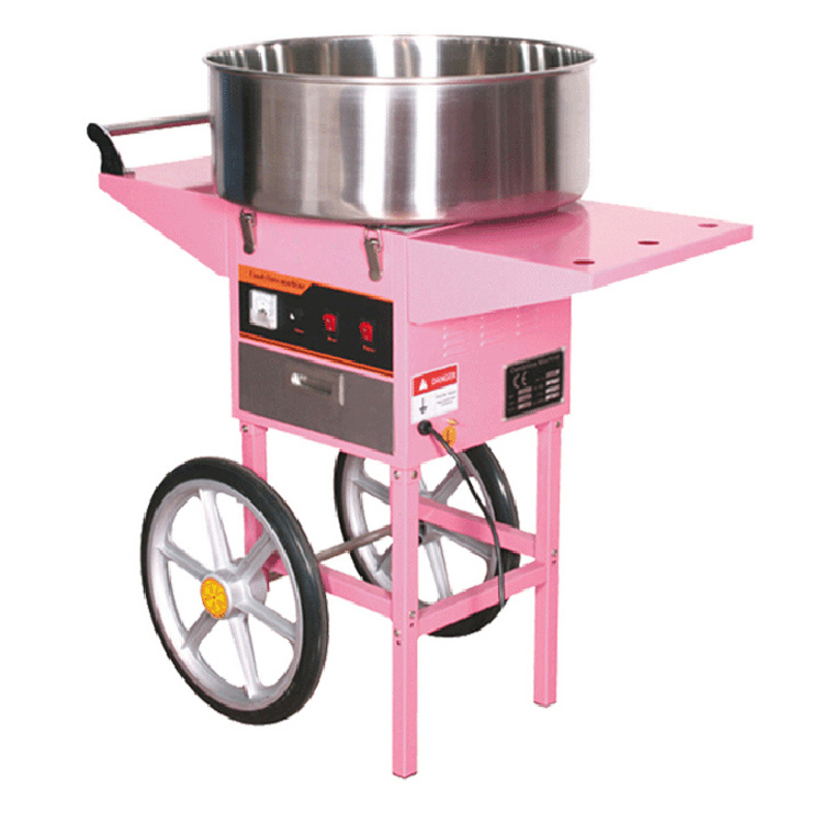Candy Floss Machine_Electric Cotton Candy Machine Fairy Floss machine With Cart PINK Color professional cotton candy floss machine cotton candy vending machine with low price