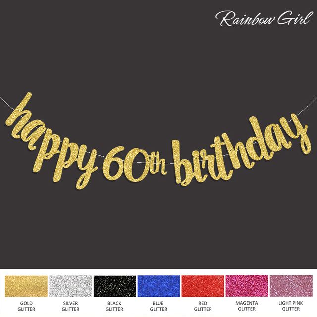Happy 60th Birthday Banner Gold Black Silver Glitter Popular Sixty Party Decorations Supplies