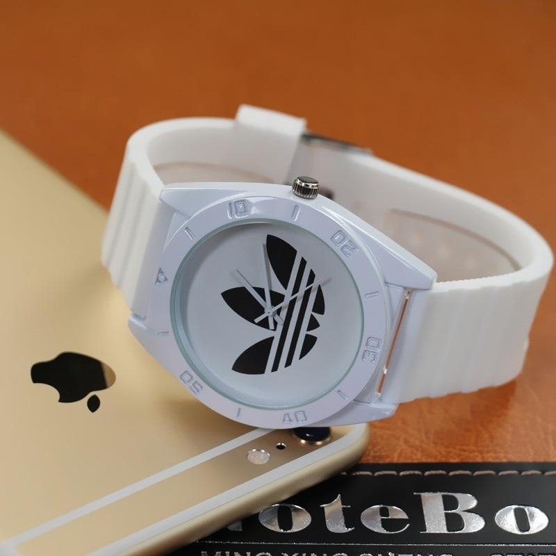 US $6 29 |Fashion AD Sport Watch Wristwatch Girl Ladies Clover Silicone  Watch Quartz 3 Leaf Grass Leisure Sport Watch for Women Men-in Women's  Watches