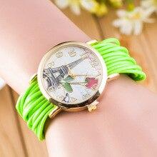 Mulheres top marca de moda de pulso casual reloj mujer rose e torre dial senhoras relógios relogio feminino relógio de quartzo 5835