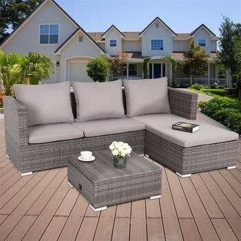 3 adet Çelik Çerçeve Ayarlanabilir Koltuk Rattan Hasır Kanepe Yüksek Kaliteli bahçe dış mekan mobilyası Seti HW58279 +