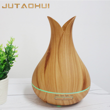 JUTAOHU 400ml Aroma Essential Oil Diffuser Ultrasonic Air Humidifier with Wood Grain 7 Color Changing LED Lights for Office Home