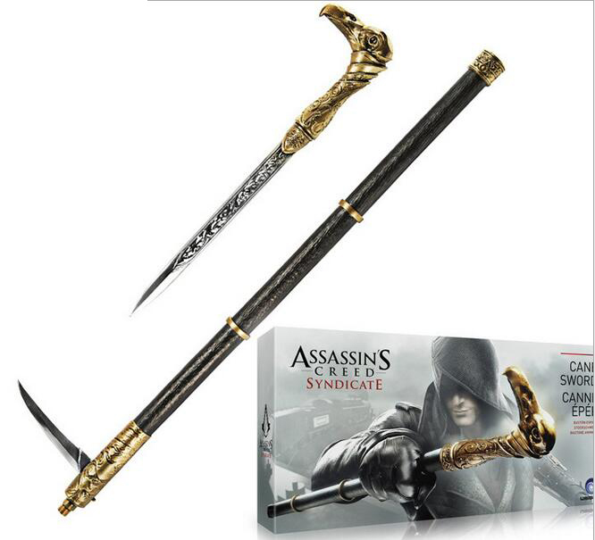 Assassins Creed Syndicate Sword Cane Cosplay Weapon Jacob Frye Cane Hidden Action Figures PVC brinquedos Collection toys Gift neca assassins creed 3 connor the hunter figurine classic game pvc action figures juguetes doll kids hot toys for children men