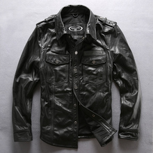 HARLEY ANGEL Men Genuine leather shirt Luminous alphabet cowskin leather jacket men lapel collar slim real
