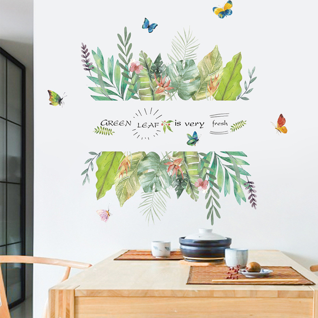 Green Leaf Butterfly Plants Wall Stickers Home Door TV Sofa Background  Decoration Living Room Bedroom Decor