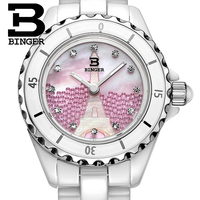 Genuine Luxury BINGER Women ceramic quartz dress watch fashion female diamond rhinestone diamond waterproof relief Eiffel Tower