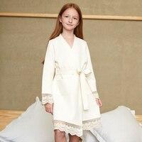New Cute Baby Bathrobes For Girls Lace Pajamas Kids Nightgowns Towel Girls Bath Robe Sleepwear Children Clothing Badjas Szlafrok