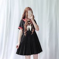 Janese Style Girls JK Dress Bowtie Sailor Vintage Dress Student Embroidery Lolita Dress Kawaii A Line Pleated Short Mini Dresses