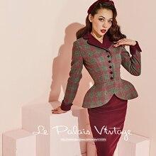 La Palais Vintage 2016 Autumn Winter New Elegant Lattice Wine Red Skirts Style Top + Pencil Skirt Sets Two Piece Suit Women