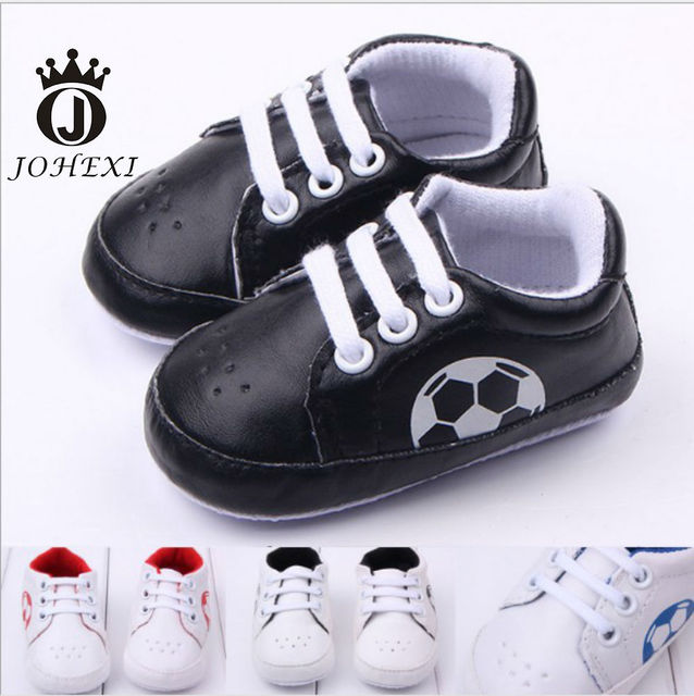 2017 Fashion Soccer Design Girl/Boy Baby Firstwalker PU Football Infant Toddler Baby Shoe Non-slip Outdoor Black/Blue/Red11-13CM